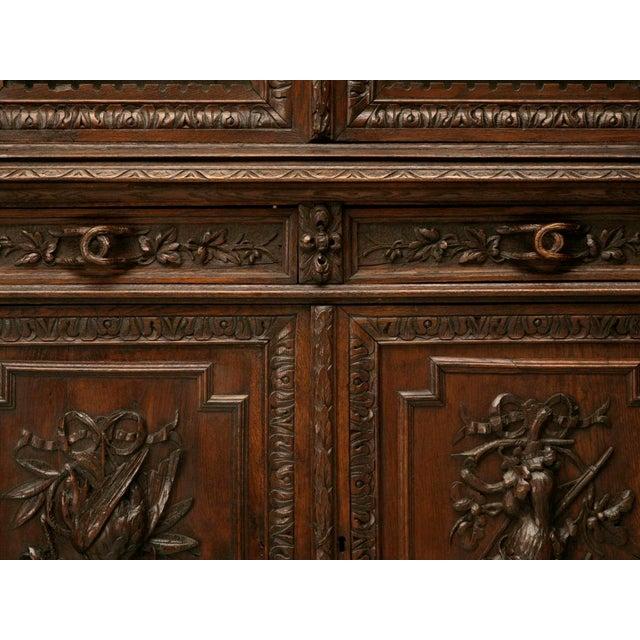Black Forest Antique French Carved Oak Hunt Cabinet For Sale - Image 3 of 10