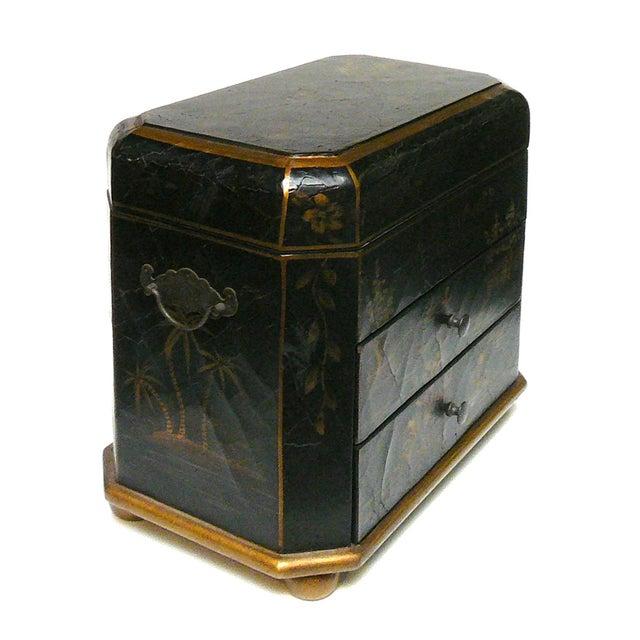 Handmade Chinese Black & Golden Jewelry Box - Image 2 of 7