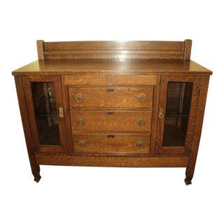 Antique Mission Arts & Crafts Quarter Sawn Oak Buffet For Sale