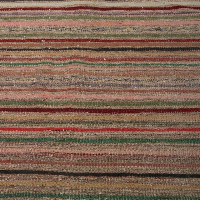 Tribal Vintage Geometric Striped Beige Brown and Multicolor Wool Kilim Rug For Sale - Image 3 of 6