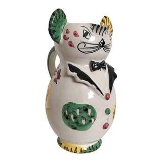 Artisan Italian Pitcher Whimsical Cat in Tuxedo For Sale