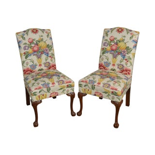 Custom Floral Upholstered Pair of Chippendale Side Chairs by Lane For Sale