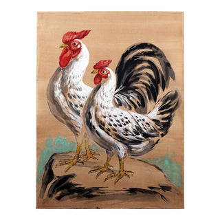 Vintage Mid-Century Rooster & Hen on Rock Painting For Sale