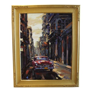 Habana Vieja Street Scene Oil on Canvas For Sale