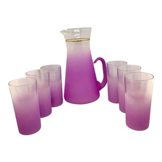 1960s Mid Century Orchid Blendo Pitcher With Glasses - 7 Pieces For Sale