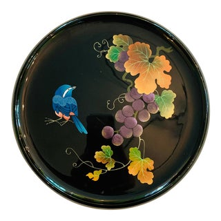 Asian Hand Painted Bluebird Lacquer Tray For Sale