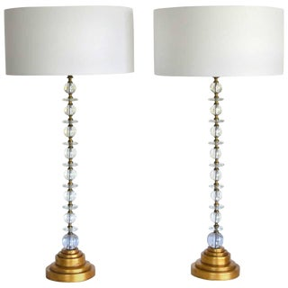 Pair of Hollywood Regency Blown Glass Table Lamps For Sale