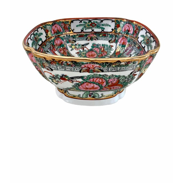 Vintage Rose Medallion Pedestal Bowl with clover like shape. Pretty rounded corners. In excellent vintage condition.