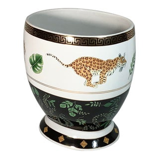 Lynn Chase Porcelain Jaguar Jungle Wastebasket For Sale