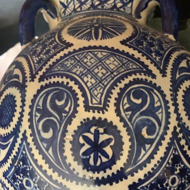 1960s Large Moroccan Hispano-Moorish Blue and White Ceramic Handled Jar For Sale - Image 5 of 13