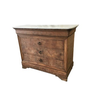 Louis Philippe Marble Top Walnut Commode Dresser