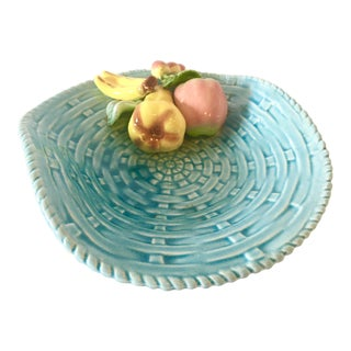Vintage Majolica Dish in Blue Hue With Fruits For Sale