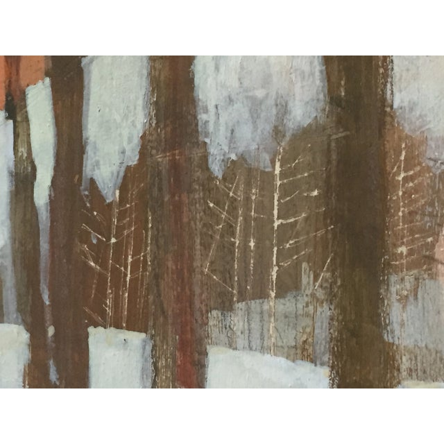 Blue Vintage 1960's Oil Landscape Painting Winter Trees For Sale - Image 8 of 9