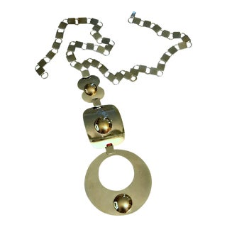 Vintage Silver Gold Chrome Metal Space Age Triple Pendant 1960s Necklace For Sale
