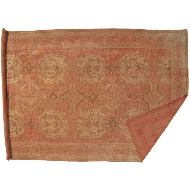Antique Turkish OUSHAK Handmade Hand-knotted. Lamb's wool on a wool foundation. Hand-Spun Wool Rug Vegetable Dyed Circa...