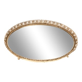 Vintage Italian Mirrored Silver Vanity Tray For Sale