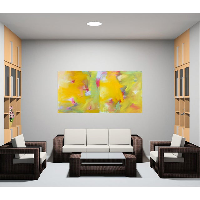 """Up and Away"" by Trixie Pitts Large Abstract Diptych Oil Painting For Sale - Image 9 of 13"