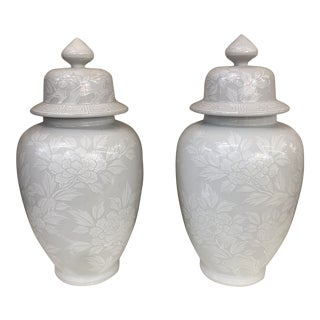 Chinese Handpainted Monochrome Jars, a Pair For Sale