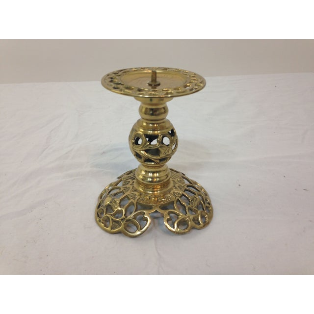 Ornate Brass Filigree Candlestick - Image 2 of 3