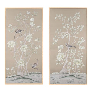 """Jardins en Fleur """"Donnington"""" Chinoiserie Hand-Painted Silk Diptych by Simon Paul Scott in Burnished Gold Frame - a Pair For Sale"""