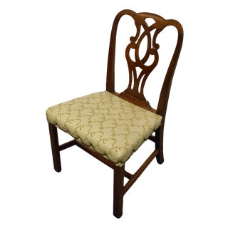 Traditional Chippendale Baker Furniture Solid Mahogany Dining Side Chair For Sale