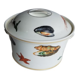 Vintage French Round Porcelain Seafood Tureen For Sale