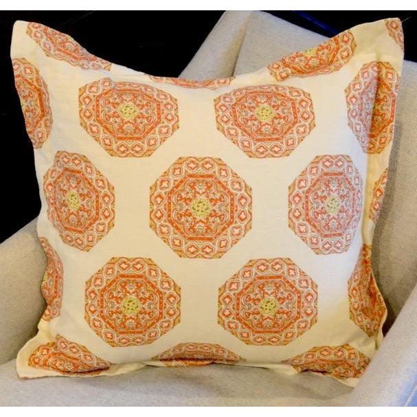 Quadrille Medallion Melon Camel on Cream Pillow For Sale - Image 4 of 4