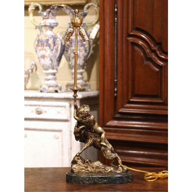 19th Century French Bronze Dore Young Bacchus and Ram Table Lamp on Marble Base For Sale - Image 12 of 13