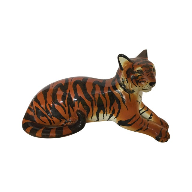 Stunning Italian Ceramic Tiger For Sale