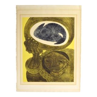 """Jorge Dumas """"Pescadora"""" L/E Lithograph Abstract Cubist Portrait For Sale"""