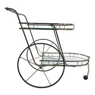 Vintage Brass 2-Tiered Tea/Bar Trolley W/ Glass Shelves For Sale