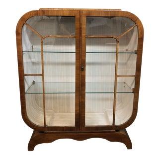 1920s Art Deco Mahogany Veneer Display Cabinet