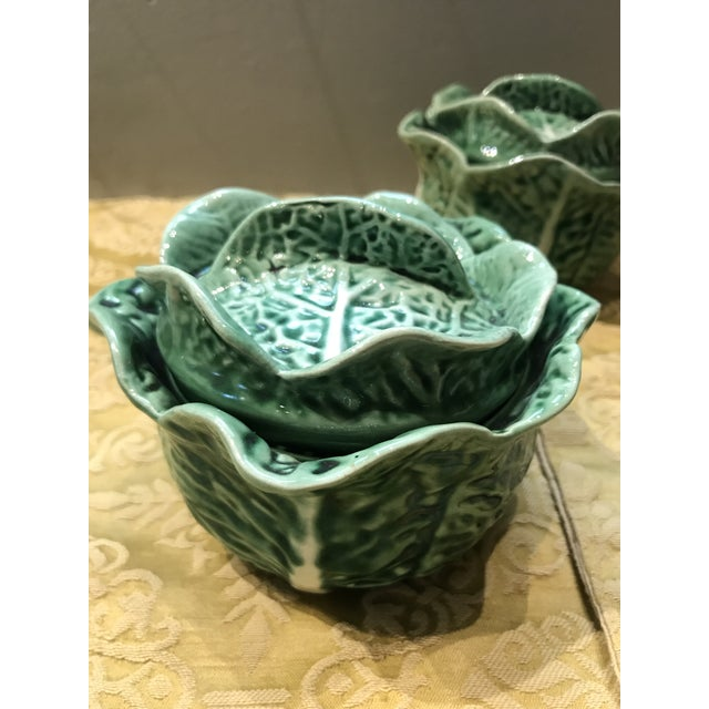 Secla Vintage Secla Majolica Green Cabbage Covered Soup Bowls - Set of 3 For Sale - Image 4 of 12