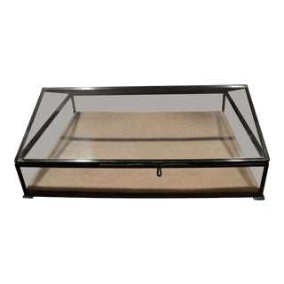 Tabletop Glass Display Case With Removable Fabric Covered Liner For Sale