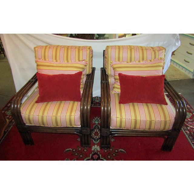 Pair of Pierce Martin Bamboo Accent Chairs & Pillows - Image 2 of 6