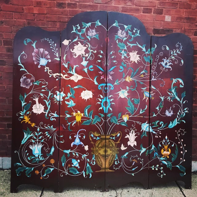 1940's Era Vintage Painted Folding Screen For Sale In Chicago - Image 6 of 11