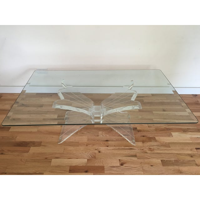 Glass Lucite Butterfly Base Coffee Table - Image 5 of 5