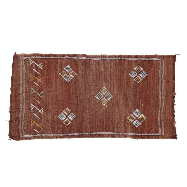 Moroccan Kilim Flatweave Green Rug Cactus Silk Sabra Berber