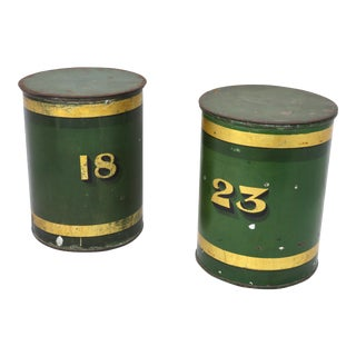 19th Century Early American Toleware Painted Tin Storage Canisters- a Pair For Sale