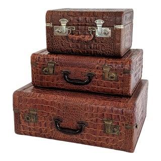1960s Vintage Faux Alligator Luggage- Set of 3 For Sale
