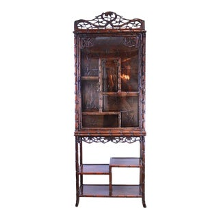 Chinese Hand Carved Rosewood Display Cabinet, Simulated Bamboo, Circa 1880 For Sale