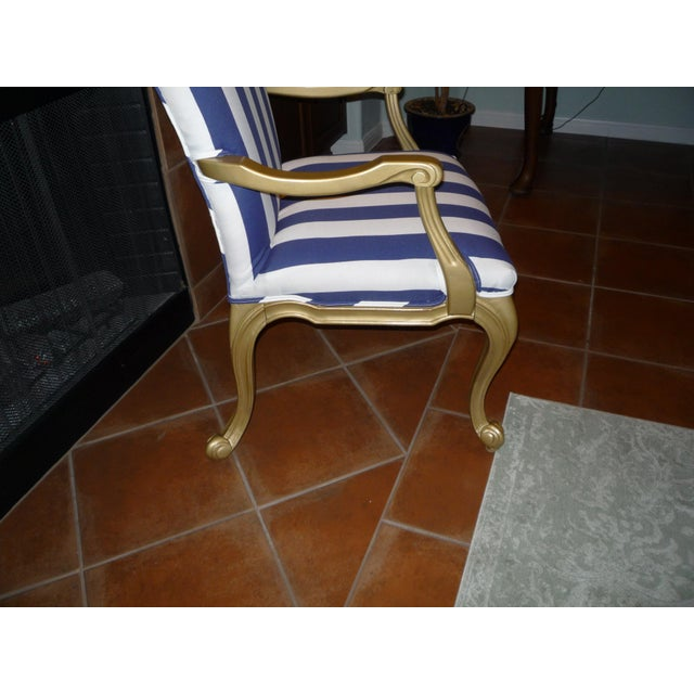 Regal Gold & Blue Striped Chair - Image 7 of 10