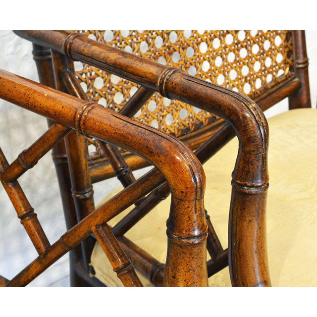 Late 20th Century Pair of Chinoiserie Chippendale Style Upholstered Faux Bamboo Wooden Armchairs For Sale - Image 5 of 13