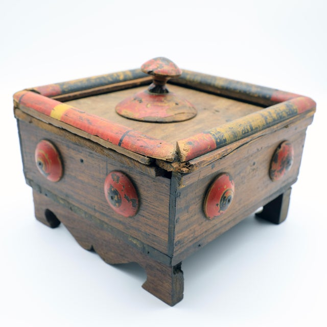 Afghan 19th Century Antique Afghan Wood Spice Box For Sale - Image 3 of 13