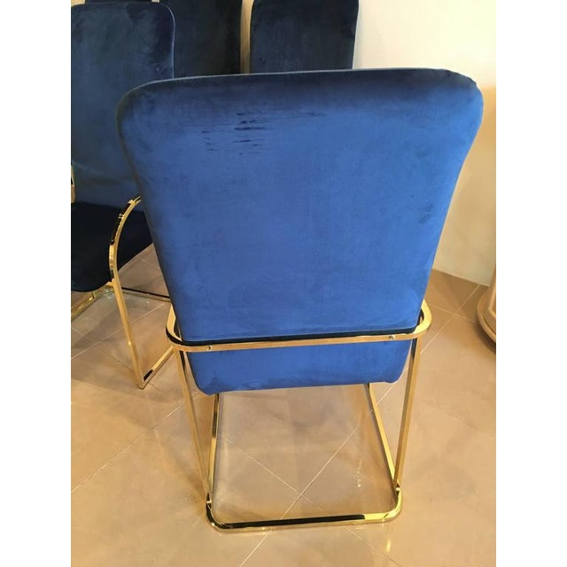 DIA - Design Institute America DIA Brass Navy Velvet Dining Arm Chairs - Set of 12 For Sale - Image 4 of 9