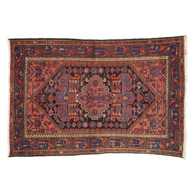Textile Antique Persian Hamadan Rug with Modern Tribal Style For Sale - Image 7 of 8