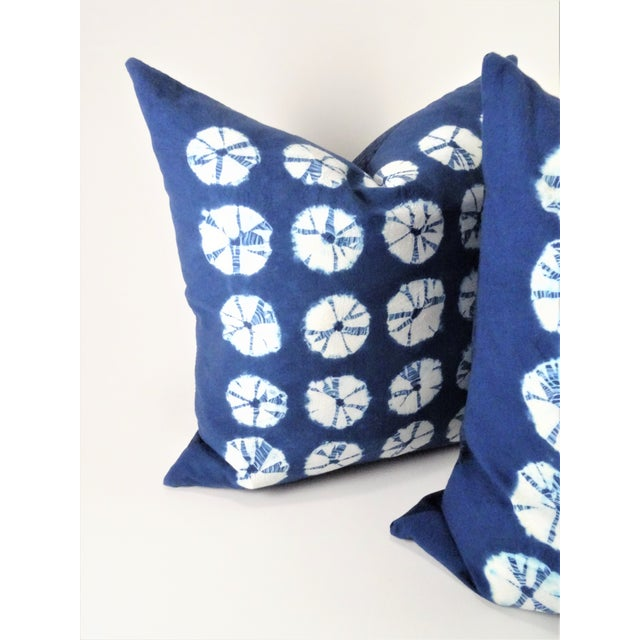 Hand sewn natural indigo tie die pillows. Including down & feather insert and sold as a pair. All hand stitched by hand....