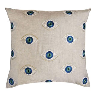 Contemporary Evil Eye Linen Pillow For Sale