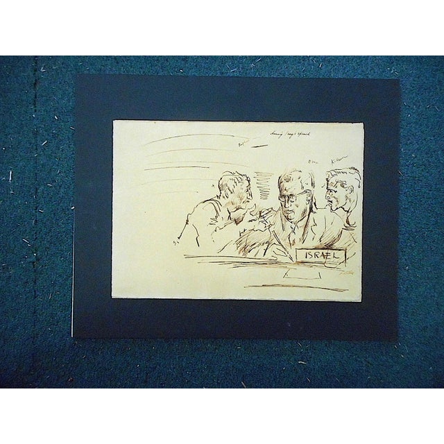 Mid 20th Century Original Vintage Mid 20th Century Drawing-D. Fredenthal-Listed American Artist-Judaica-U.N. Suez Crisis For Sale - Image 5 of 5