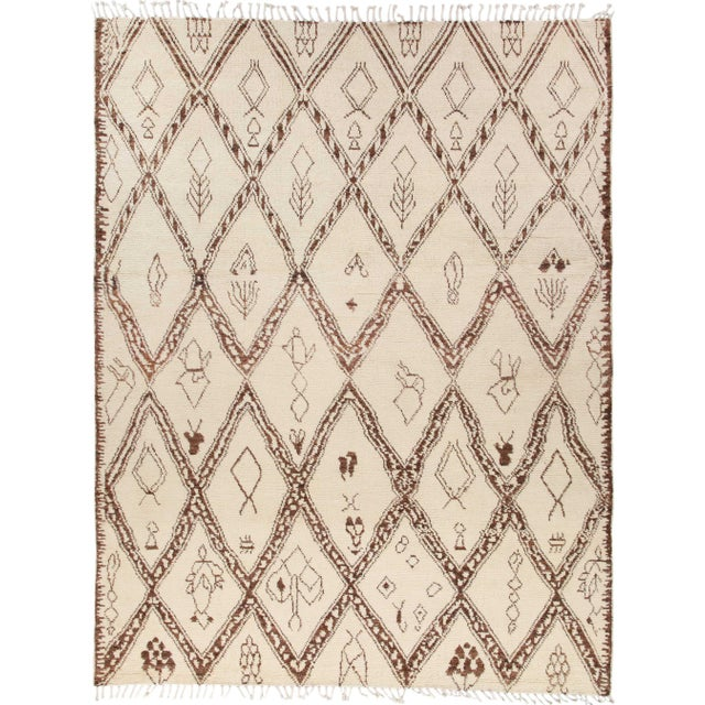 """Ivory Bohemian Hand-Knotted Area Rug 8' 1"""" x 10' 4"""" For Sale - Image 8 of 8"""